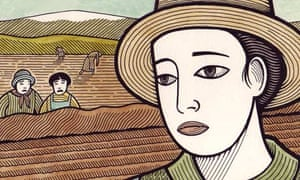 Clifford Harper illustration of woman working in a field