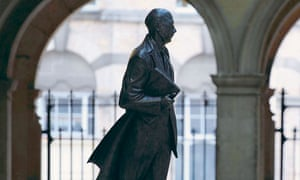 Sculpture by Martin Jennings of Philip Larkin in Hull's Paragon station