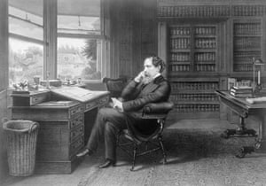 dickens interiors gallery: Charles Dickens in his study