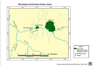 Suriname: Map of Werehpai in southwest Suriname