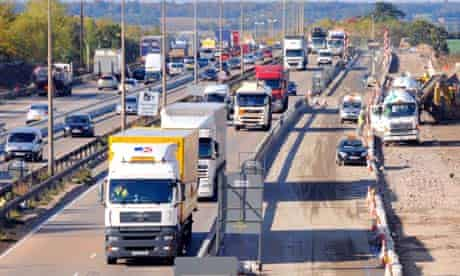 Lorries and roadworks on the M25