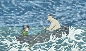 Dave Shelton illustration of the boy and the bear in a boat. The bear is rowing