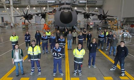Workers at EADS's Military Airbus complex in Seville