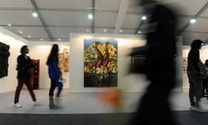 Visitors at the Indian Art Fair in Delhi