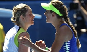Victoria Azarenka of Belarus, right, is congratulated by Kim Clijsters of Belgium