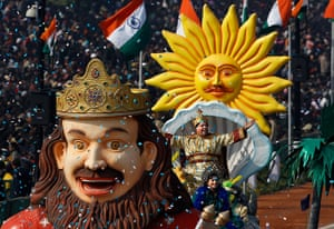 India Republic Day: Performers on float of the Indian state of Goa on Rajpath
