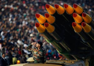 India Republic Day: An Indian army soldier salutes on Rajpath, New Delhi