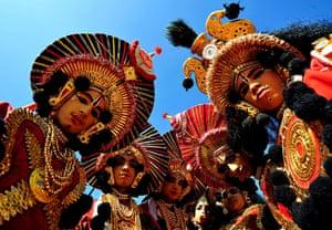India Republic Day: School children in costumes prepare to participate in an event in Bangalore