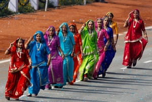 India Republic Day: Indian women dance during the main Republic Day parade in New Delhi