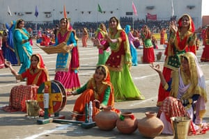India Republic Day: Indian youths perform a Punjabi traditional folk dance the Giddha, Amritsar