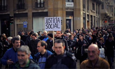A march to protest against cuts in Pamplona, northern Spain