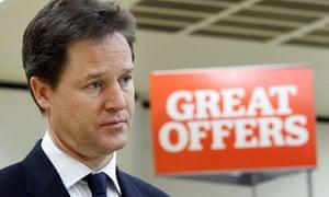 Nick Clegg visits a supermarket ahead of his speech on tax allowances
