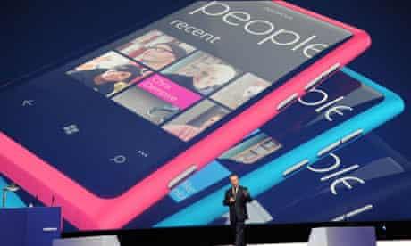 Nokia's Stephen Elop presents the Lumia smartphone