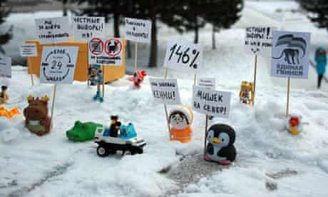 Barnaul Russia protest toys in the role of demonstrators with placards