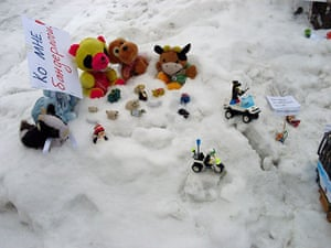 Russia toy protests: Toy figure protests in Barnaul, Russia