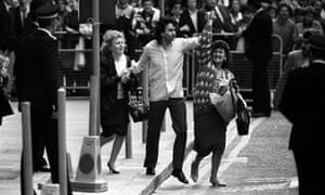 Gerald Conlon, one of the Guildford Four, celebrates outside Old Bailey