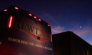 Newt Gingrich's bus during a campaign stop