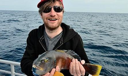 Charlie Brooker fishing off Australia