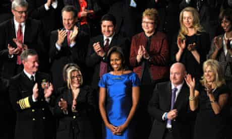 Eric Schneiderman joins applause for Michelle Obama during President Obama's state of the union
