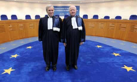 The ECHR president, Nicolas Bratza (left) and his predecessor, Jean-Paul Costa