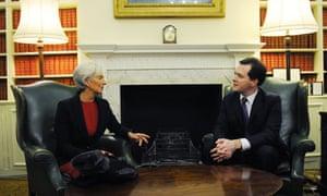 George Osborne meets IMF chief Christine Lagarde in London before the World Economic Forum in Davos