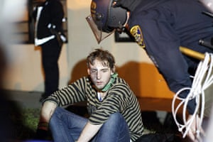 Occupy Oakland: A demonstrator in Oakland waits for medical assistance