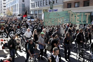 Occupy Oakland: Protestors march through the streets of downtown Oakland