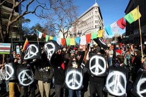 Occupy Oakland: Protesters march down Broadway in Oakland