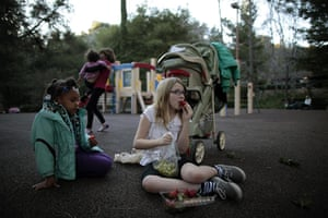 Hope Gardens : Lindzy Earp sits in the playground with Deja Mass