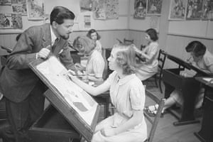 Ronald Searle: 1950: Ronald Searle visits an art class at Acton Reynold girl's school