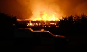 Forest fires in Chile: A fire on a pulp mill plant near Concepcion city