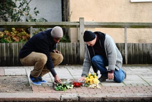Stephen Lawrence murder : Members of the public lay flowers at the memorial stone of Stephen Lawrence