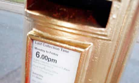 Pillar box painted gold