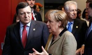 José Manuel Barroso and Angela Merkel at the EU summit in Brussels