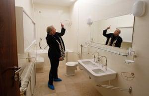 Villa Tugendhat: Iveta Cerna, architect, points at details in the bathroom
