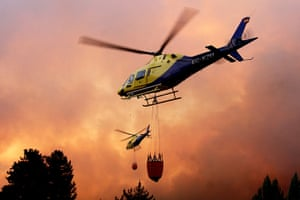 Chile forest fire: Helicopters fight a massive forest fire Quillon, Chile