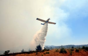 Chile forest fire: A plane drops water over the forest fire in Quillon