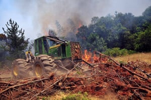 Chile forest fire: A truck burns in Quillon, Chile