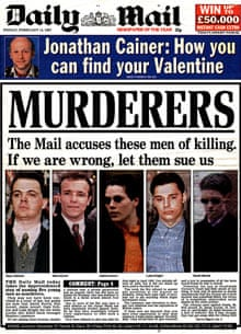 The Daily Mail's 1997 front page accusing five men of murdering Stephen Lawrence