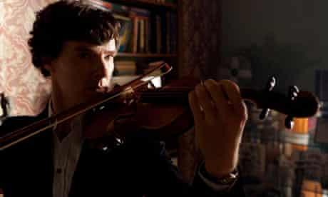 Benedict Cumberbatch as Sherlock plays the violin.
