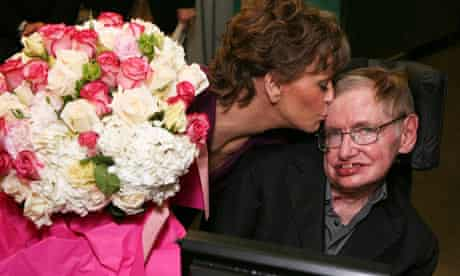 Stephen Hawking is kissed by Jane Fonda