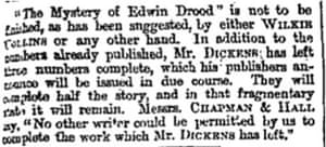 Wilikie Collins will not complete Drood