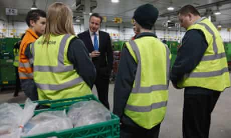 David Cameron talks to factory workers
