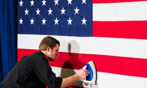 US flag being ironed