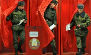 Belarusian soldiers voting in the 2010 presidential election