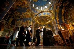Serbian Lazarica Church: Serbian Orthodox Christians venerating the cross