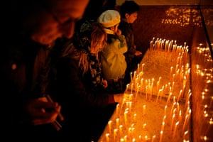 Serbian Lazarica Church: Serbian Orthodox Christians light candles