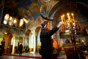Serbian Lazarica Church: Serbian Orthodox Christians celebrating the Nativity of Christ