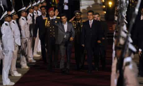Iranian president Mahmoud Ahmadinejad is welcomed by the Venezuelan vice-president