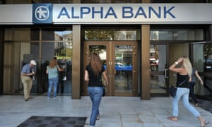 Alpha Bank customers in Athens, Greece.